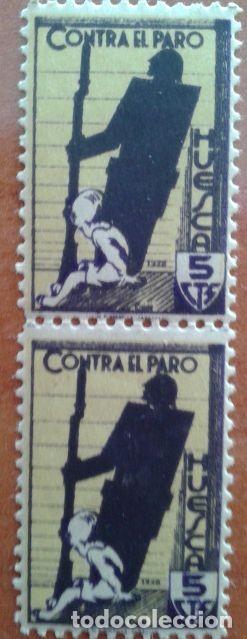 DOS VIÑETAS CONTRA EL PARO - HUESCA (Sellos - España - Guerra Civil - Viñetas - Nuevos)