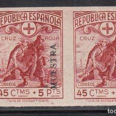 Timbres: ESPAÑA 1938 EDIFIL Nº 767 MS /**/, CRUZ ROJA ESPAÑOLA, MUESTRA, PAREJA SIN DENTAR, SIN FIJASELLOS. Lote 190558542