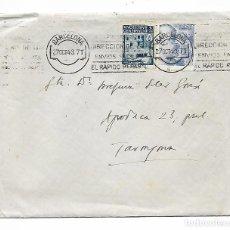 Sellos: SOBRE CON FECHA 27 OCTUBRE 1943 - CON REINTEGROS DE CURSO LEGAL Y DE BARCELONA - VER FOTOS. Lote 191036141