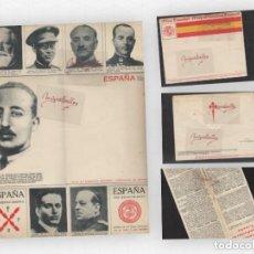 Sellos: CARTA-SOBRE PATRIÓTICA ILUSTRADA , TRIPTICO ,ED P.P.K.O VIGO RETRATOS GENERALES BANDO NACIONAL RARA.. Lote 191104291