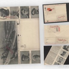 Francobolli: CARTA-SOBRE PATRIÓTICA ILUSTRADA , TRIPTICO ,ED P.P.K.O VIGO RETRATOS ALMIRANTES MARINA RARA.. Lote 191104715