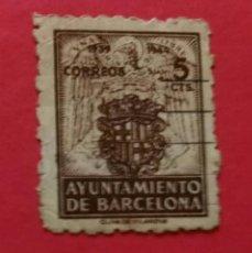 Sellos: SELLO ESPAÑA, 5 CTS., MARRÓN, MATASELLADO. AYUNTAMIENTO DE BARCELONA.. Lote 191116326