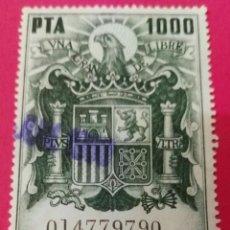 Sellos: SELLO - POLIZA - TIMBRE MOVIL - 1000 PESETAS - ESCUDO DE ESPAÑA CON AGUILA. Lote 191120457