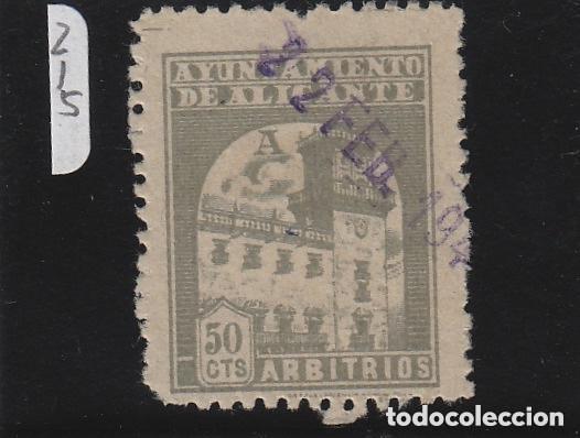 ALICANTE . AYUNTAMIENTO . ARBITRIOS MUNICIPALES . 50 CTS . . USADO ... FISCAL / LOCAL (Sellos - España - Guerra Civil - De 1.936 a 1.939 - Usados)