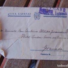 Sellos: SOBRE CENSURA MILITAR SEVILLA DE SEVILLA A GRANADA VIVA ESPAÑA A TENIENTE HOTEL LONDRES. Lote 191182751