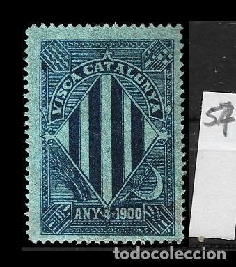 VN4-4-57 VIÑETA NACIONALISTA SEPARATISTA VISCA CATALUNYA ANY 1900 NATHAN Nº 10 CON FIJASELLOS PUNTO (Sellos - España - Guerra Civil - Viñetas - Nuevos)