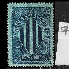 Sellos: VN4-4-57 VIÑETA NACIONALISTA SEPARATISTA VISCA CATALUNYA ANY 1900 NATHAN Nº 10 CON FIJASELLOS PUNTO . Lote 180226085