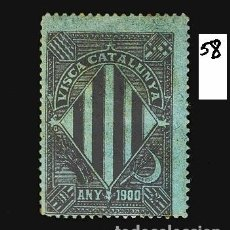 Sellos: VN4-4-58 VIÑETA NACIONALISTA SEPARATISTA VISCA CATALUNYA ANY 1900 NATHAN Nº 10 CON FIJASELLOS. Lote 180226422
