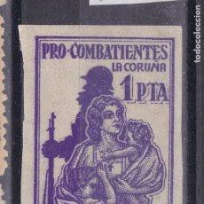 Sellos: TT33-GUERRA CIVIL. SUBSIDIO PRO COMBATIENTES LA CORUÑA 1 PTA SIN DENTAR (*) .. Lote 191429447