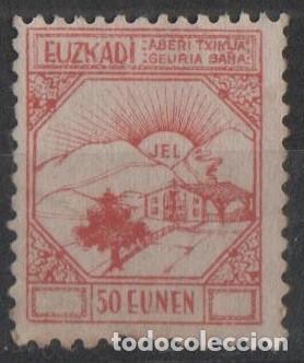 F4-14-7 - GUERRA CIVIL - VIÑETA EUZKADI - 50 EUNEN - ROJO (Sellos - España - Guerra Civil - Viñetas - Usados)