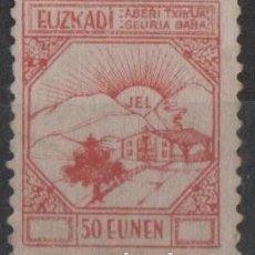 Sellos: F4-14-7 - GUERRA CIVIL - VIÑETA EUZKADI - 50 EUNEN - ROJO . Lote 191489925