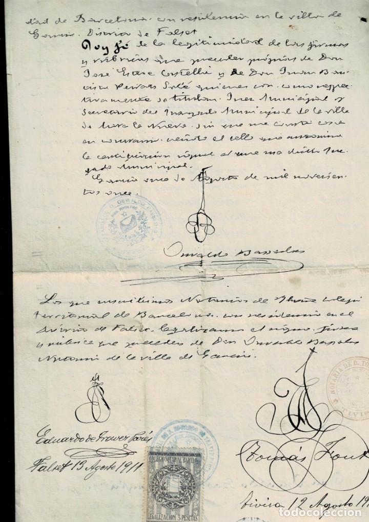 Sellos: L26-13 MORA LA NUEVA (Tarragona) ACTA DE NACIMIENTO con sello fiscal de 11ª Clase de 1 peseta AZUL y - Foto 2 - 191498670