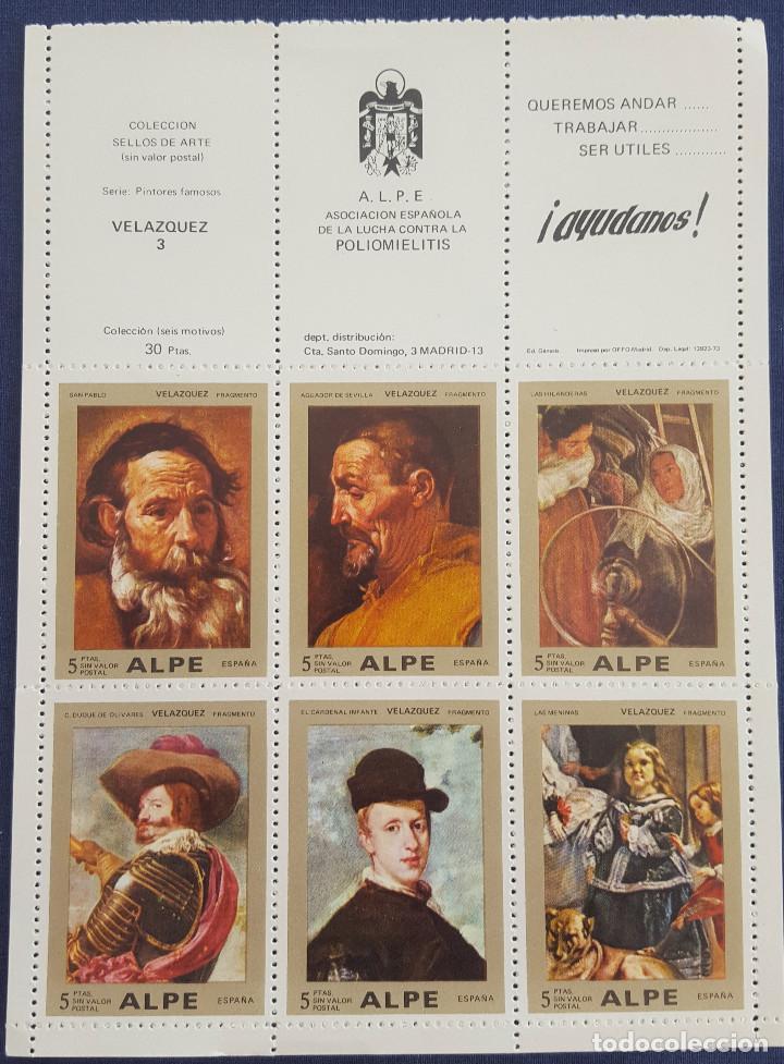 Sellos: LOTE DE 2 COLECCIONES DE SELLOS DE ARTE DE ALPE. POLIOMIELITIS. VELÁZQUEZ Y GOYA. SIN VALOR POSTAL - Foto 2 - 191600251