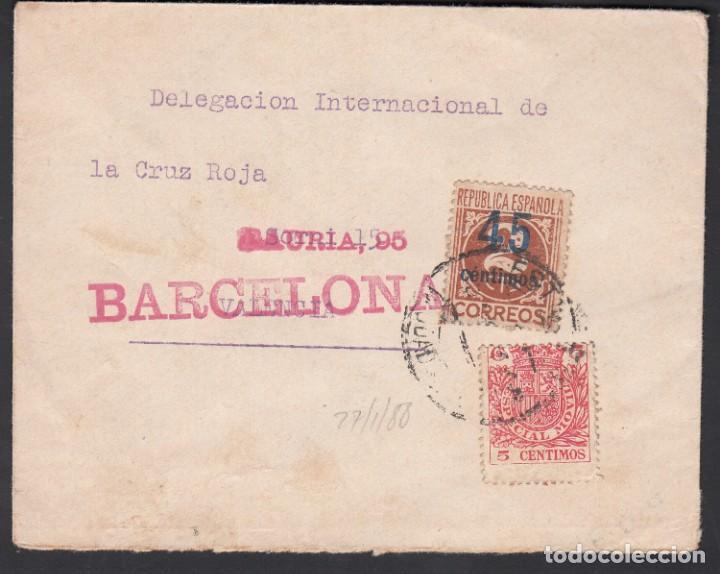 CARTA, BARCELONA - VALENCIA, DELEGACIÓN INTERNACIONAL DE LA CRUZ ROJA, MARCA DE BARCELONA, (Sellos - España - Guerra Civil - De 1.936 a 1.939 - Cartas)