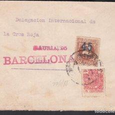 Sellos: CARTA, BARCELONA - VALENCIA, DELEGACIÓN INTERNACIONAL DE LA CRUZ ROJA, MARCA DE BARCELONA, . Lote 191645877
