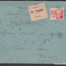 Sellos: CARTA ALICANTE A LERIDA, CUPÓN PRO-REFUGIADOS 5CTS. Lote 191652148