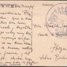 Sellos: TARJETA POSTAL, MARCA MILITAR MANDO, CENSURA MILITAR, . Lote 191657272