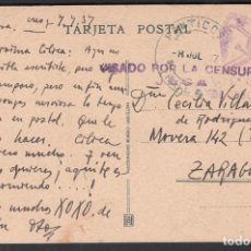 Sellos: TARJETA POSTAL, PANTICOSA - ZARAGOZA, MARCA 1ª COMPAÑIA DE ESQUIADORES, VISADO POR LA CENSURA JACA. . Lote 191657387