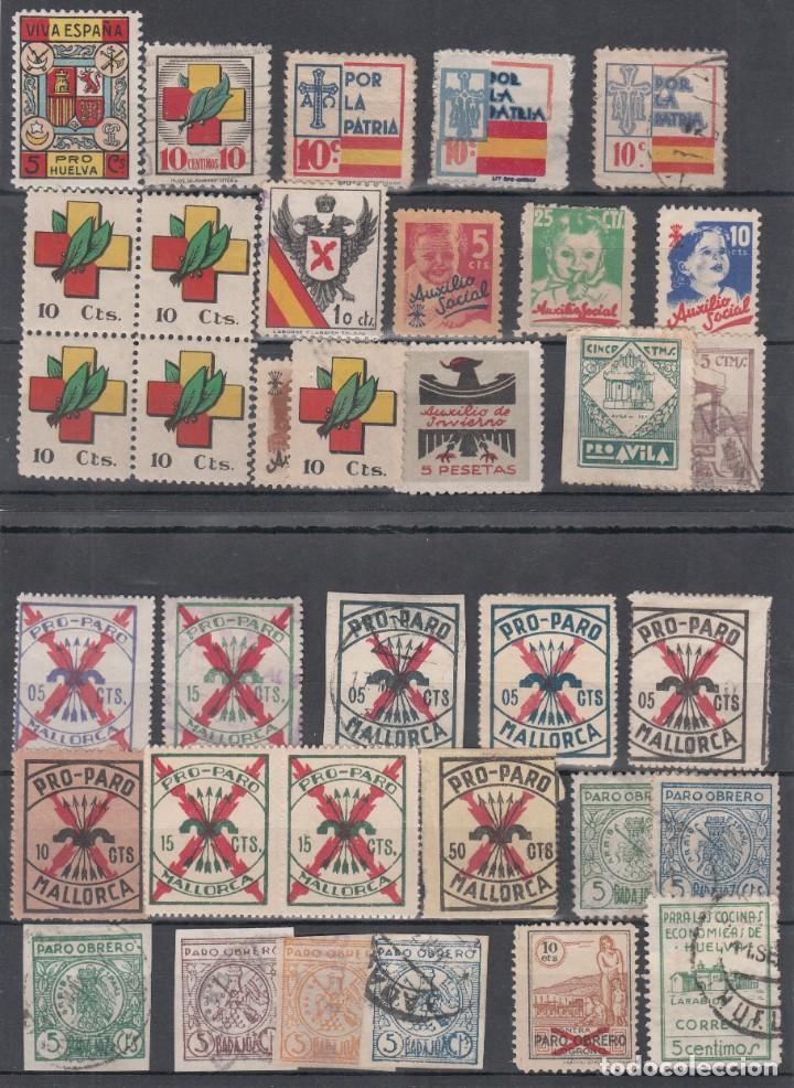LOTE DE VIÑETAS, AUXILIO SOCIAL, AUXILIO DE INVIERNO, PRO-PATRIA. (Sellos - España - Guerra Civil - Viñetas - Usados)