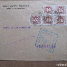 Sellos: CIRCULADA 1938 DE BANCO HISPANO AMERICANO DE JEREZ DE LA FRONTERA A AZPEITIA CON CENSURA MILITAR. Lote 191896868