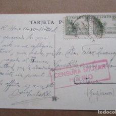 Sellos: POSTAL HOTEL BRISTOL SEVILLA CIRCULADA 1938 DE HARO RIOJA CESTONA GUIPUZCOA CON CENSURA MILITAR. Lote 191897358