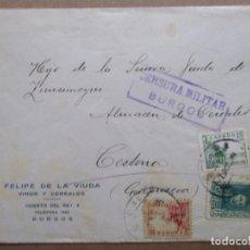 Sellos: CIRCULADA 1939 DE BURGOS A CESTONA GUIPUZCOA CON CENSURA MILITAR. Lote 191897691