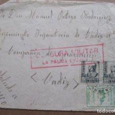 Sellos: CIRCULADA 1937 D LA PALMA HUELVA A REGIMIENTO INFANTERIA DE CADIZ CON CENSURA MILITAR Y SELLO LOCAL. Lote 191898237