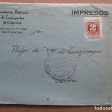 Sellos: ASOCIACION PATRONAL DE TRANSPORTES DE GUIPUZCOA A CESTONA CON CENSURA MILITAR DE SAN SEBASTIAN. Lote 191902380