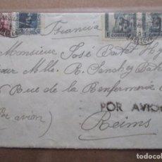 Sellos: CIRCULADA 1938 DE BARCELONA A REIMS FRANCIA CON CENSURA REPUBLICANA. Lote 191903328