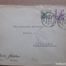Sellos: CIRCULADA 1938 DE NORTE FILATELICO BILBAO A GRANADA CON CENSURA MILITAR. Lote 191915477