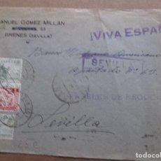 Sellos: CIRCULADA 1938 DE BRENES A SEVILLA CON CENSURA MILITAR. Lote 191915633