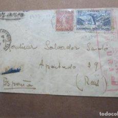 Sellos: CIRCULADA 1937 DE TOULOUSE FRANCIA A REUS TARRAGONA CON CENSURA REPUBLICANA. Lote 191916413
