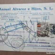 Sellos: CIRCULADA 1936 DE VIGO A SALCEDO PONTEVEDRA CON CENSURA MILITAR. Lote 191916732