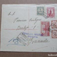 Sellos: CIRCULADA 1937 DE SEGOVIA A GRANADA CON CENSURA MILITAR. Lote 191917291