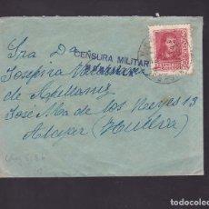Timbres: F7-3- GUERRA CIVIL. CARTA MONTILLA (CÓRDOBA) -ALAJAR (HUELVA) 1938. LOCAL Y CENSURA. Lote 192010680