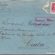 Francobolli: HP10-14- GUERRA CIVIL CARTA SAN SEBASTIAN- CEUTA 1938. CID BISECTADO. AUXILIO INVIERNO. CENSURA. Lote 192047282
