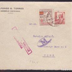 Sellos: F7-42- GUERRA CIVIL . CARTA SANGENJO (PONTEVEDRA)- VIGO 1937. LOCAL Y CENSURA . Lote 192050398