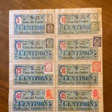 Sellos: MUNILLA LOGROÑO GUERRA CIVIL CUPONES VALES CON SELLOS. Lote 192097076
