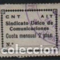 Sellos: C.N.T. A.I.T. 2 PTAS--SINDICATO UNICO DE COMUNICACIONES. VER FOTO. Lote 192180051