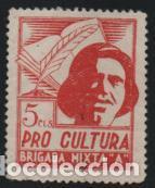 VIÑETA. 5 CTS--PRO CULTURA - BRIGADA MIXTA -A- , VER FOTO (Sellos - España - Guerra Civil - De 1.936 a 1.939 - Usados)