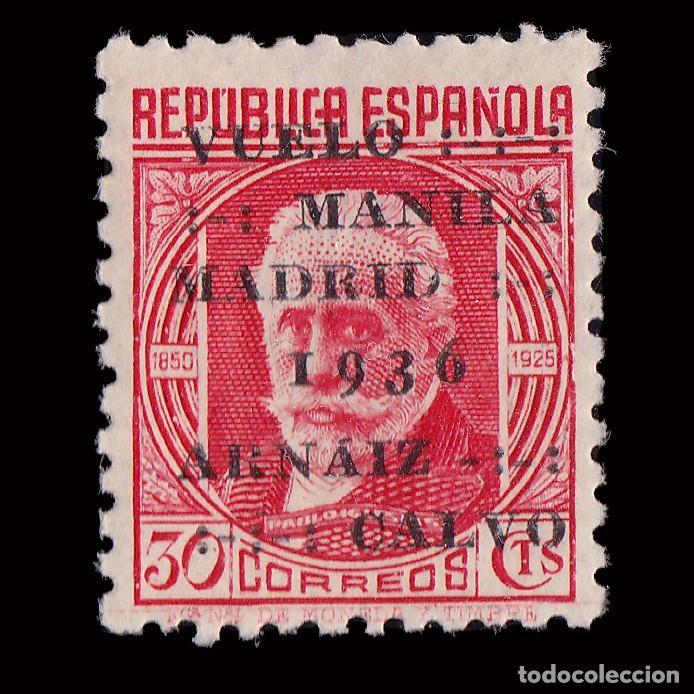 II REPÚBLICA.1936. MANILA- MADRID.SOBRECARGA. 30C.HN.EDIFIL. 741 (Sellos - España - Guerra Civil - Locales - Nuevos)
