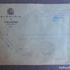 Sellos: SOBRE RARA CENSURA GUARDIA CIVIL EJEA ZARAGOZA 1937 FRANQUICIA DE FARASDUES ESCUDO REPUBLICANO. Lote 192351683
