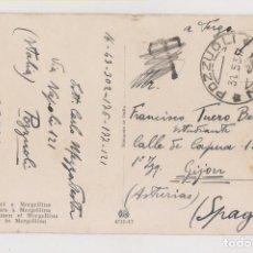 Sellos: POSTAL DE NÁPOLES A GIJÓN. ASTURIAS. 1937. TASADA Y LUEGO TASA ANULADA POR TENER SELLO ANVERSO. . Lote 192436698
