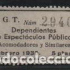 Sellos: U.G.T..5 PTAS.- DEPENDENCIOA ESPECTACULOS PUBLICOS,,FEBRERO 1939. VER FOTO. Lote 192618335