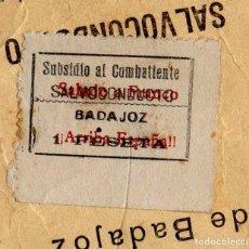 Sellos: SUBSIDIO AL COMBATIENTE DE BADAJOZ.SALVOCONDUCTO, 1 PESETA, SOBRECARGA PATRIOTICA, RARISIMO. Lote 192731195