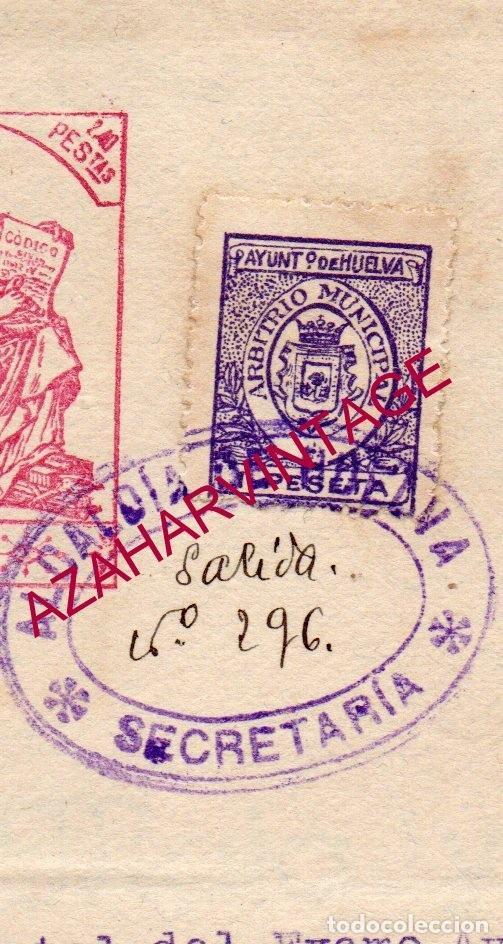 HUELVA, ARBITRIO MUNICIPAL, AÑOS 20, SOBRE DOCUMENTO (Sellos - España - Guerra Civil - De 1.936 a 1.939 - Usados)