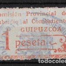 Sellos: SUBSIDIO AL COMBATIENTE DE GUIPUZCOA / SAN SEBASTIAN UNA 1 PESETA . PAÍS VASCO -EUSKADI. Lote 192823066