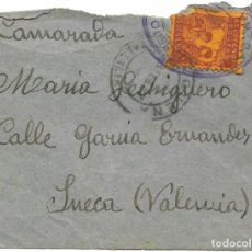 Sellos: CARTA CIRCULADA DE REQUENA A SUECA (VALENCIA) AÑO 1937 CON VIÑETA ASISTENCIA SOCIAL REQUENA 10 CTS. Lote 193343401