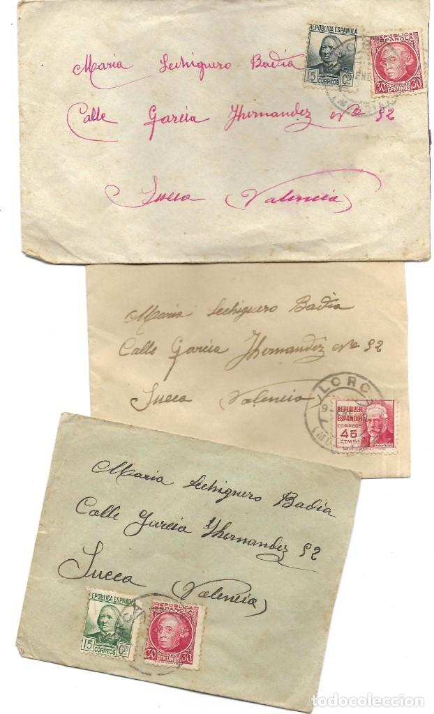 LOTE 3 SOBRES CIRCULADOS DE LORCA 222 COMPAÑÍA DE TRANSMISIONES A SUECA (VALENCIA) AÑO 1938 (Sellos - España - Guerra Civil - De 1.936 a 1.939 - Cartas)