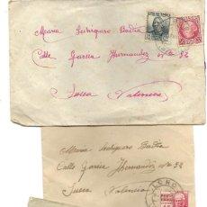 Sellos: LOTE 3 SOBRES CIRCULADOS DE LORCA 222 COMPAÑÍA DE TRANSMISIONES A SUECA (VALENCIA) AÑO 1938 . Lote 193344701